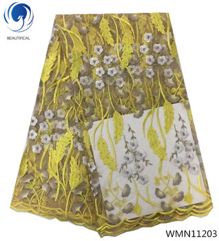 BEAUTIFICAL yellow african lace flower lace fabric wedding lace fashion free shipping latest fabrics for women 5yards/lot WMN112