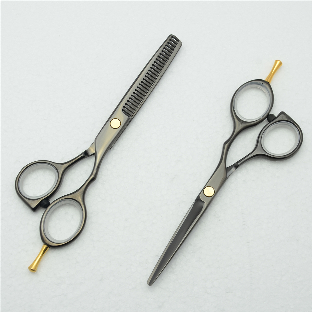 5.5'' 16cm Customized Logo 440C Black Color Professional Human Hair Scissors Hairdressing Cutting Shears Thinning Scissors C1014