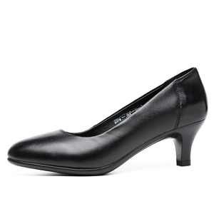 Image 2 - DRKANOL Classic Black Women Pumps 2020 Pointed Toe High Heel Shoes Women Genuine Leather Slip On Office Shoes Sapato Feminino