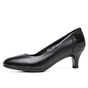 Image 2 - Drkanol古典的な黒女性パンプス 2020 ポインテッドトゥハイヒールの靴女性本革スリップオフィス靴sapato feminino