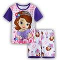 Al por menor girls clothing set niños pijamas Sofia Princess algodón 2 unid conjunto 2016 nem verano ropa de dormir camisón pijamas de los niños