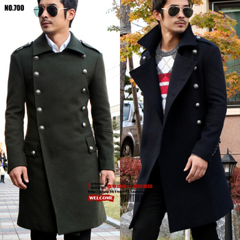 men's Long design woolen outerwear Army Green 2017 vintage wool overcoat male slim fashion plus size SM-L-XL-2XL-3XL-4XL-5XL-6XL