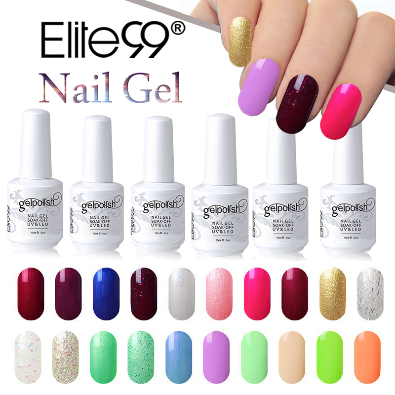 buy elite99 15ml soak off uv gel nail polish semi permanent nail gel varnishes. Black Bedroom Furniture Sets. Home Design Ideas