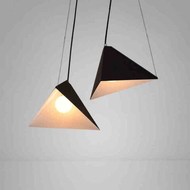Modern Pendant Lights Iron Black Lamp For Living Room Office Geometric Hanging Kitchen Fixtures