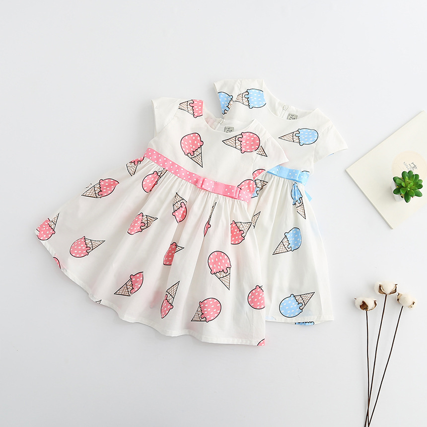 HTB1uBOMSXXXXXXvXFXXq6xXFXXXJ - Dulce Amor Summer Cute Girls Dress Kids Baby Girls Clothes Short Sleeve Ice Cream Print Princess Dress Kids Dress For Girl
