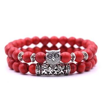 Natural stone animal owl  bracelets For Women Men Cool hot Selling 5