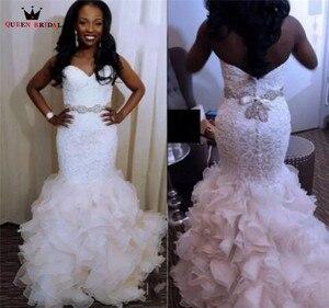 Image 2 - Luxury Wedding Dresses Mermaid Sweetheart Ruffle Lace Crystal Sash Sexy Vintage Wedding Gown Bridal Dress Custom Made YB152