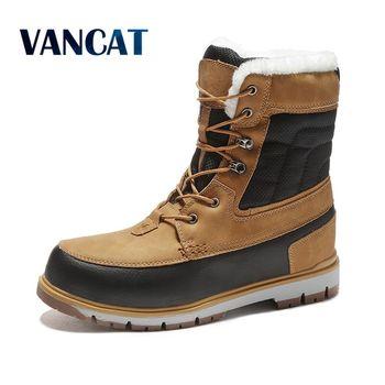 Vancat invierno cálido Piel de felpa botas de nieve hombres botas de tobillo calidad Casual motocicleta botas impermeables hombres de gran tamaño 39-47