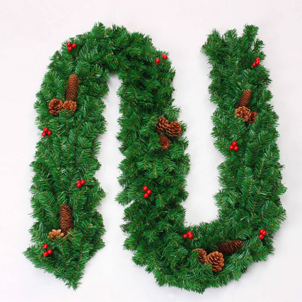 Cilected 2.7M Christmas Artificial Christmas Rattan Garland Simulation Pine Cone Red Fruit Rattan Ornaments New Year Decoration
