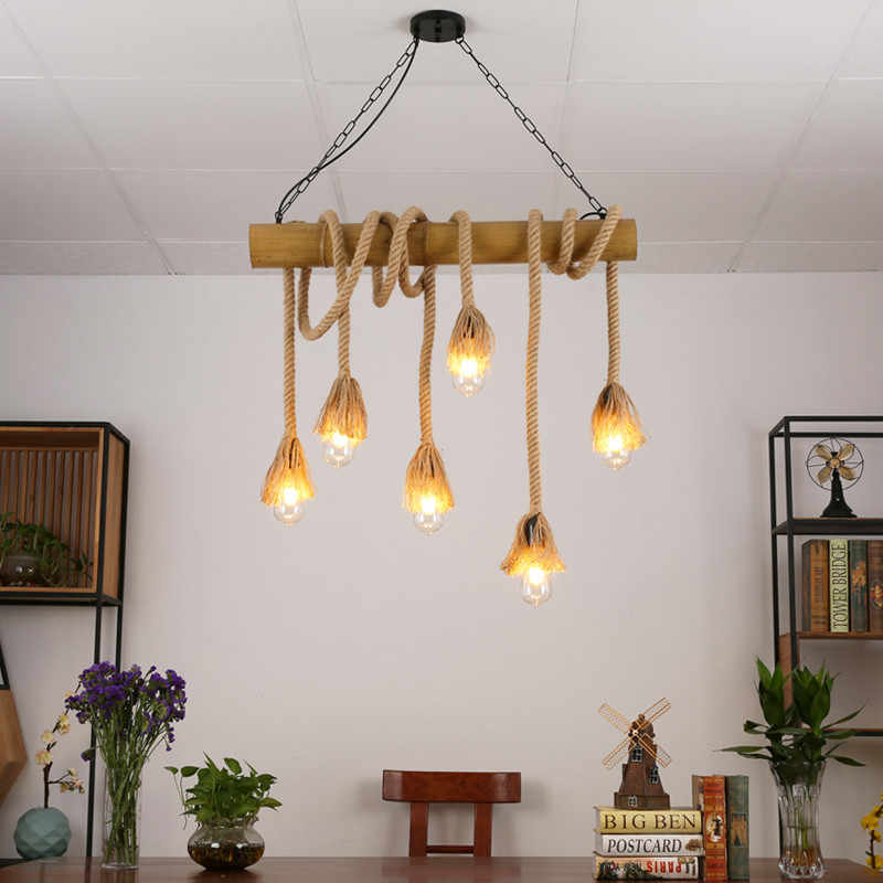 Star wish бамбуковая пеньковая веревка подвесной светильник для украшения ресторана Лампы Кофейня Ретро Бар сад венгинг свет