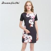 Dreamjieshi Women Summer Charm Black Print Vintage Dress Cute Casual Short Sleeve O Neck Above Knee