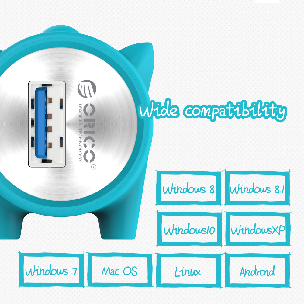 ORICO 4 Ports Cute Pet-shape HUB for MAC Notebook Perfectly Aluminum Alloy Silicone 100cm Detached Data Cable - Silver