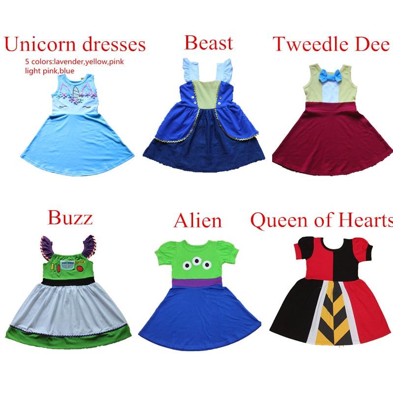 Estate delle ragazze Vestito Dalla Principessa Regalo di Compleanno Del Bambino Cosply Partito Abito Abito Da Ballo Formale Bestia Unicorno Alien Sundress Per 1-10Y