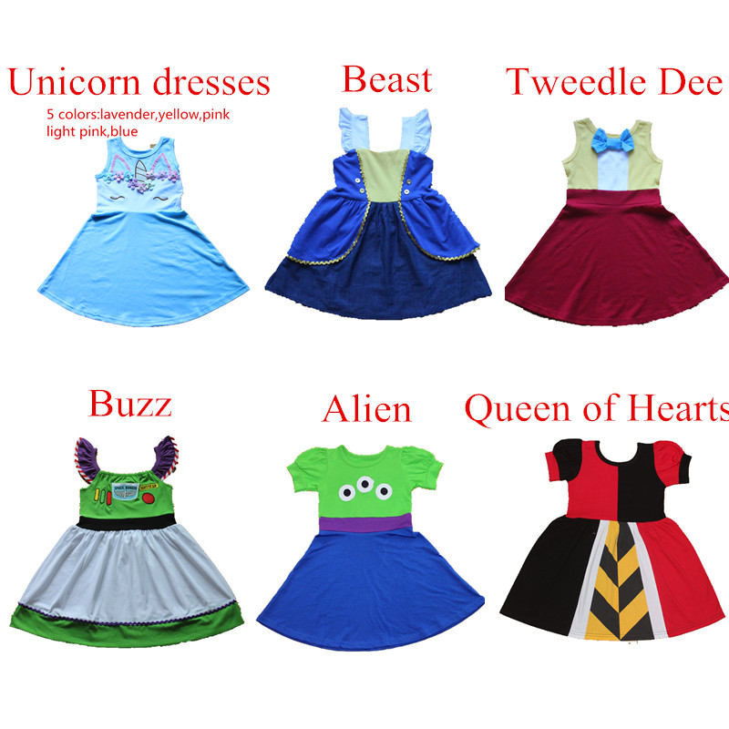 Girls Summer Princess Dress Birthday Gift Toddler Cosply Unicorn Party Formal Ball Gown Dress Beast Alien Sundress For 1-10Y