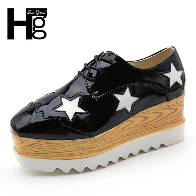 HEE GRAND Silver Oxford Women Flat Platform Shoes Woman Fashion Solid Rubber Woman Shoes Lace Up 3 Colors Size 35-39 XWD6628
