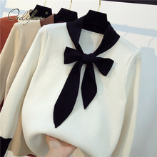 Ordifree Pull Femme Women Knitted Sweater 2019 Autumn Winter Long Sleeve Slim Soft Warm Bow Female Sweater Pullover
