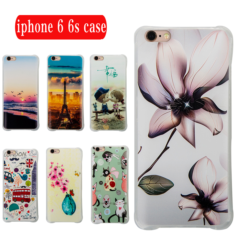 New Fashion Cute Flowers Case for iPhone 6 6s 4.7′ TPU Case Soft Dual Fundas for iphone 6 case 3d silicone cartoon Gel Capinhas