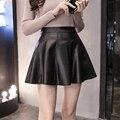 Negro de Cuero de LA PU Falda de Cuero Mini Falda para Las Señoras Falda Skater