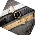 Breve de la vendimia redonda de metal hebilla de correa ancha ocasional del todo-fósforo femenino de la correa negro hebilla de cinturón de los pantalones vaqueros