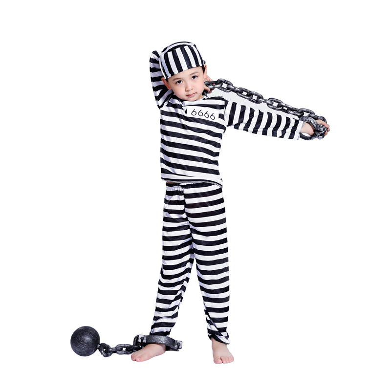Halloween Cosplay Costume Clothes Boy Child Striped Prisoner Prisoner Costume Masquerade Costume