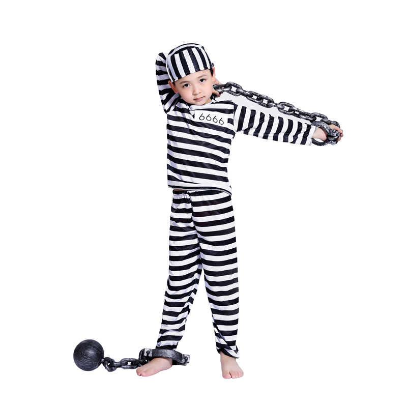 f1ef6e5b1b4 Halloween Cosplay Costume clothes boy child striped prisoner prisoner  costume masquerade costume