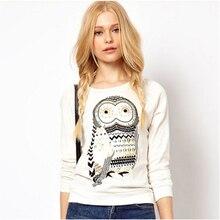 2016 Fashion Women Sweats Female Long Sleeve Rostone Rhinestone Animal Owl Print Tops Pullover Sweater Sweat White CL0629