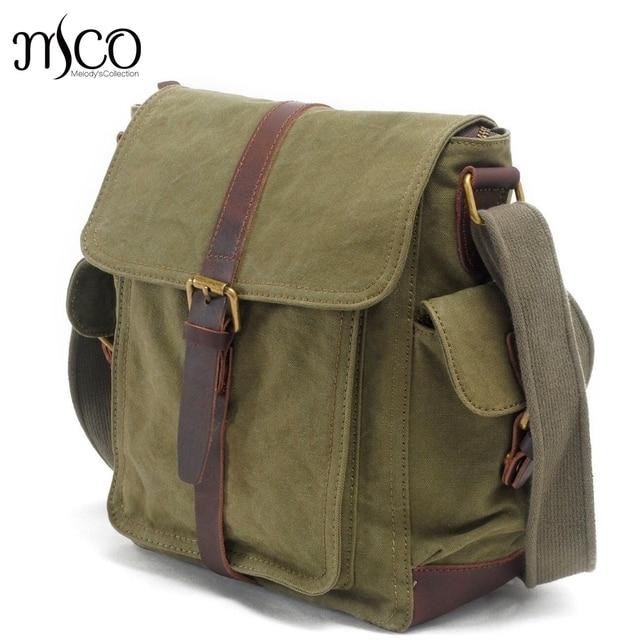 Men Messenger Bags Military Canvas School Shoulder Bag Casual Tote Vintage Army  green Design Male Bag Small Travel Satchel Purse 536ee455e1ef3