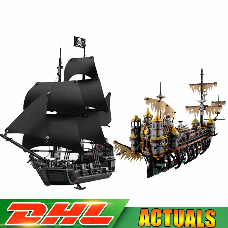 LEPIN 16042 Pirate of The CaribbeanThe Slient Mary Set+16006 The Black Pearl Ship Bricks Blocks Compatible LegoINGlys 71042 4184 lepin 16042 2344pcs pirate of the caribbean the slient mary set 16006 the black pearl ship building blocks bricks toys 71042