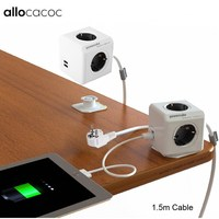 Allocacoc Extended PowerCube Socket DE Plug 4 Outlets Dual USB Adapter with 150CM / 300CM Cable Extension Adapter