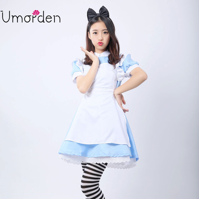 Umorden Alice in Wonderland Costume Lolita Dress Maid Cosplay Fantasia Carnival Halloween Costumes for Women 1