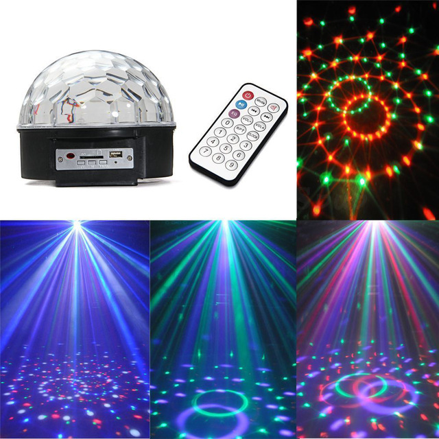LED RGB Crystal Magic Ball Effect Light,MP3 Music Stage Laser Lighting Lamp with USB Disk and Remote Control Function mini rgb led party disco club dj light crystal magic ball effect stage lighting