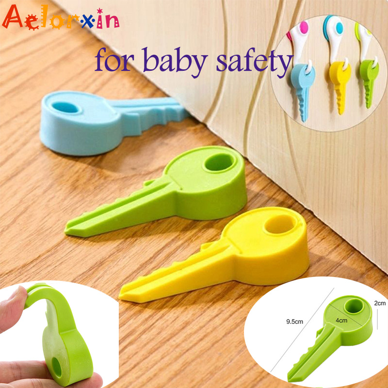 Key Shape Design Leaves Shape Baby Safety Cute Door Stopper Baby Newborn Care Child Lock Protection From Children Child Lock