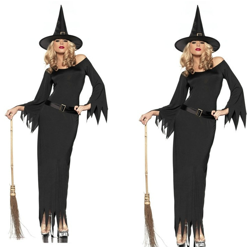 Gothic Black Witch Long Halloween Costumes Women Sorceress