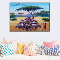 Handmade Modern Mural Picture On Canvas Wall Art Abstract African People Painting Hang Landscape Paintings For