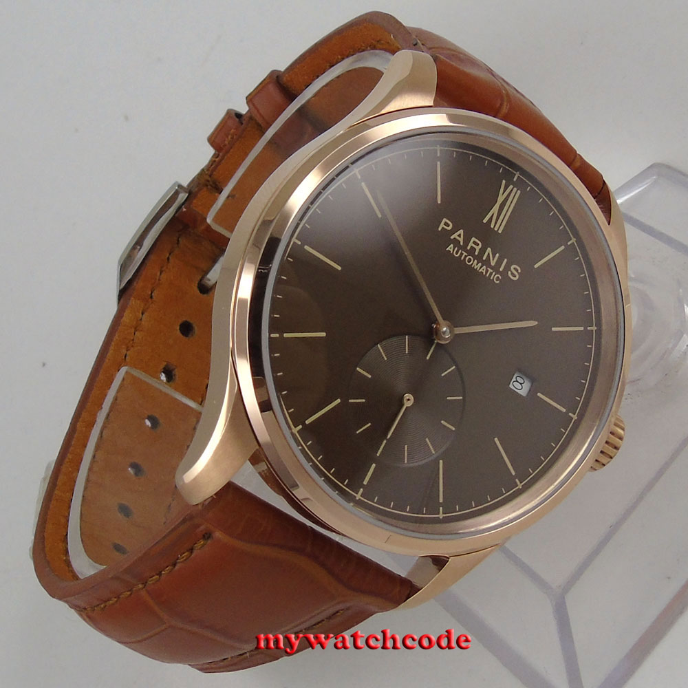 polished 42mm parnis coffee dial rose case date window automatic MENS watch P987 цена и фото