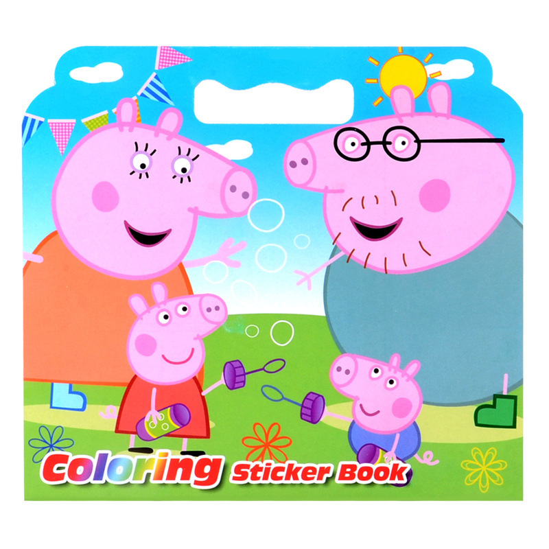 16 Pages New Cute Small Pig Coloring Sticker Book