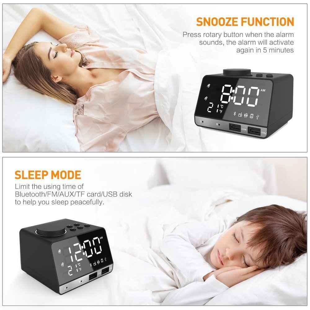 LED numérique double réveil miroir horloge sans fil bluetooth haut-parleur de basse Radio FM + 2 Ports de chargeur USB lecteur de musique Snooze température