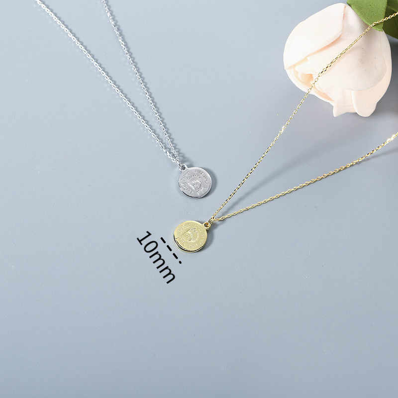 4cfa8f8bb ... 100% Authentic 925 Sterling Silver Nameplate Necklace Retro Style  Portrait Pendant Necklaces For Women Initial ...