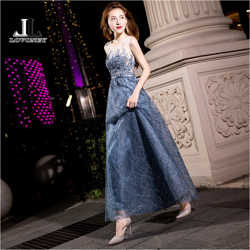 LOVONEY MXN102 Sexy See Through Long Prom Dresses 2019 A Line O Neck Beading Occasion Party