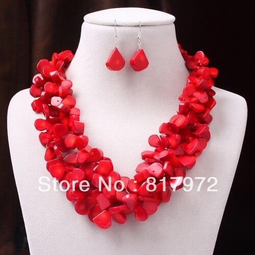 Mode rouge corail goutte d'eau Chunky 2 couches collier Dangle crochet ensemble femme cadeau