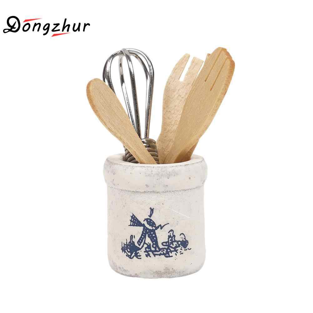 Dongzhur Wooden Knife And Fork Metal Whisk Jar Set Dollhouse Miniatures 1:12 Accessories Doll House Mini Kitchen Accessories