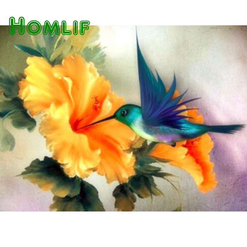 HOMLF DIY Diamond Painting Cross Stitch Mosaic Needlework round Bird yellow flower Rhinestones Diamond Embroidery Home Decor