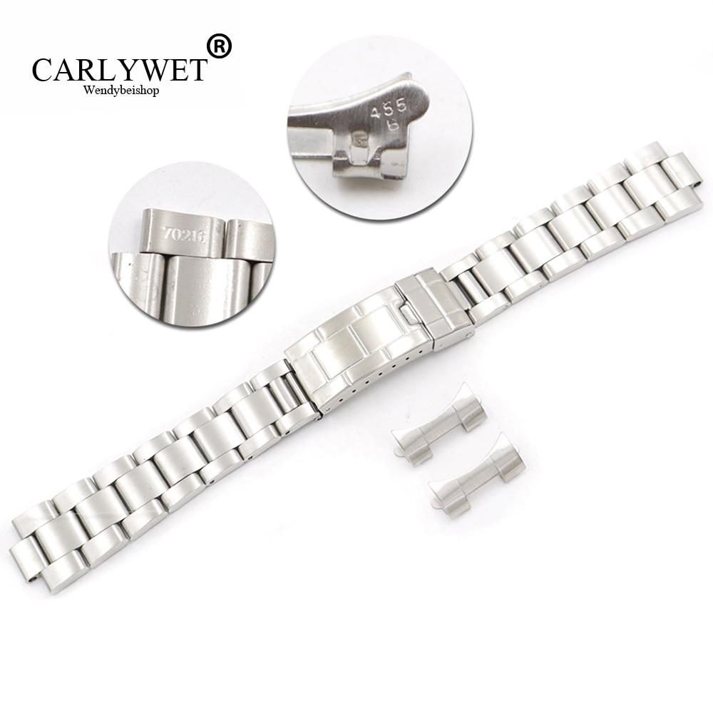 Carlywet 20mm Stalen Schakels Hollow Gebogen End Glide Lock Sluiting Watch Band Armband Voor Vintage Submariner Oyster 70216 455b Lange Levensduur