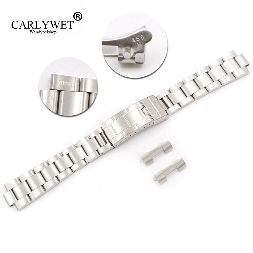 Candid Carlywet 20mm Steel Links Hollow Curved End Glide Lock Clasp Watch Band Bracelet For Vintage Submariner Oyster 70216 455b Watches