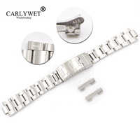 CARLYWET 20mm Steel Links Hollow Curved End Glide Lock Clasp Watch Band Bracelet for Vintage Submariner Oyster 70216 455B