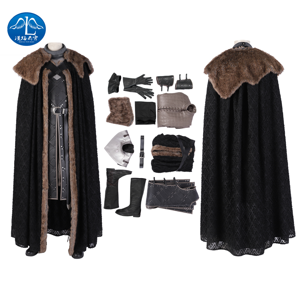 Manluyunxiao Game of Thrones T Shirt Cosplay Costumes Jon Snow Costume tenue avec manteau Halloween vêtements Ault hommes fête