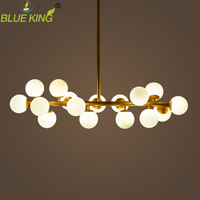 Modern art pendant light gold magic bean led lamp living dining room shop led white glass pendant lamp fixtures 16 lights