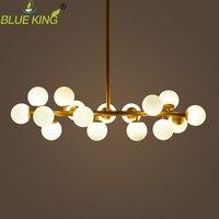 Modern art pendant light gold magic bean led lamp living dining room shop led white glass pendant lamp fixtures 16 lights