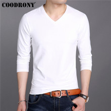 COODRONY White T Shirt Men Cotton Tee Homme Bottoming Tshirt Clothes 2019 Autumn Classic Pure Color T-Shirt 95019