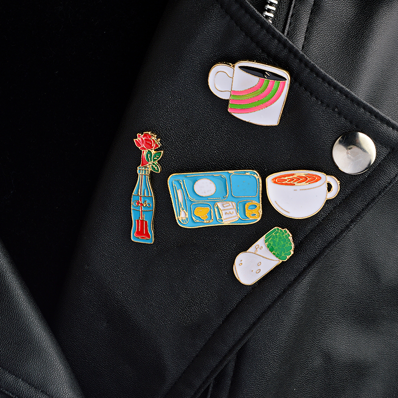 Brooches Jewelry & Accessories Humor 5pcs/set Coffee Cup Cola Coke Bottle Flower Mexico Taco Plate Brooch Collar Corsage Shirt Bag Cap Jacket Pin Badge Gift Jewelry